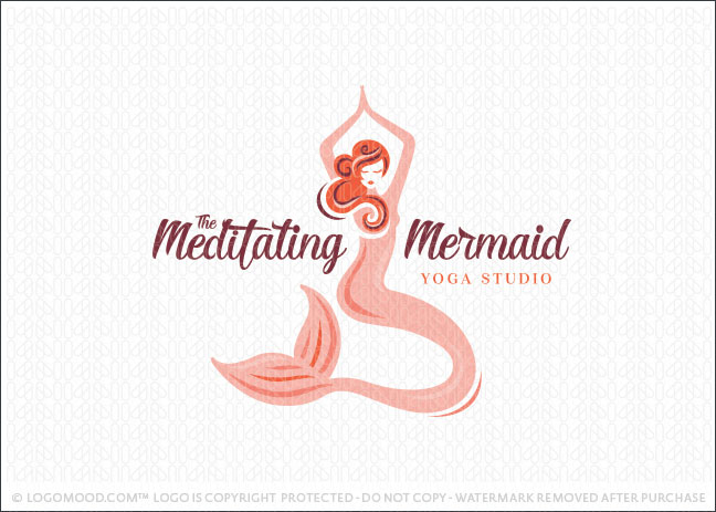 The Meditating Mermaid Yoga Studio Fitness Logo For Sale