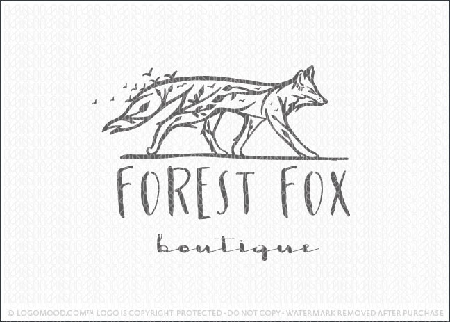 Forest Fox Tree Logo For Sale