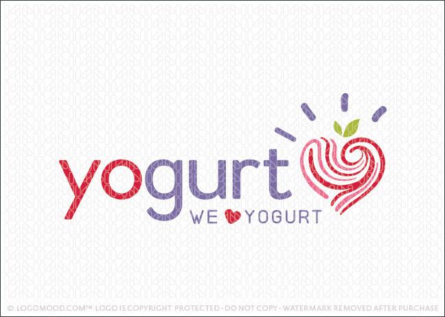 Yogurt Love Frozen Yogurt and Smoothy Logo For Sale