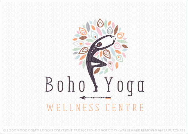 Boho Tree Yoga Wellness Center Logo For Sale