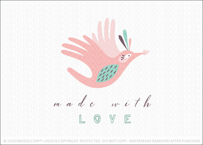 Made With Love Whimsical flying hand bird logo for sale