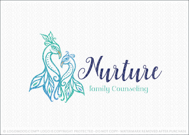 Nurture Mother and Child Peacock Logo For Sale