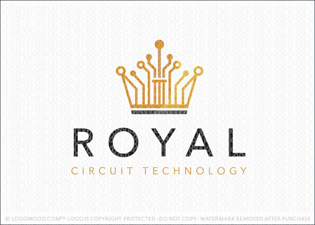 Royal Crown Circuit Board Technology Logo For Sale