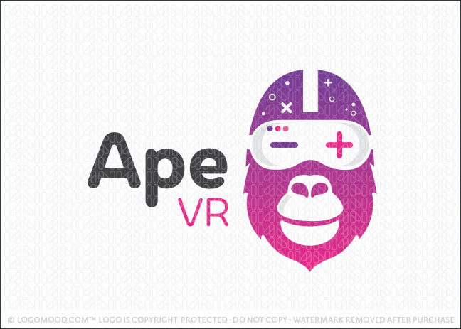 Ape Gorilla Virtual Reality VR Gaming Logo For Sale