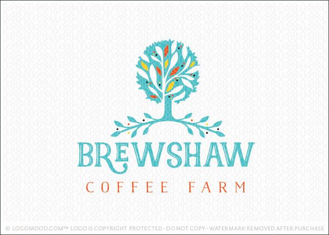 Coffee Brewing Farm Tree Logo For Sale