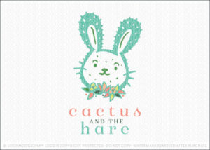 The Cactus And The Hare Bunny Rabbit Logo For Sale