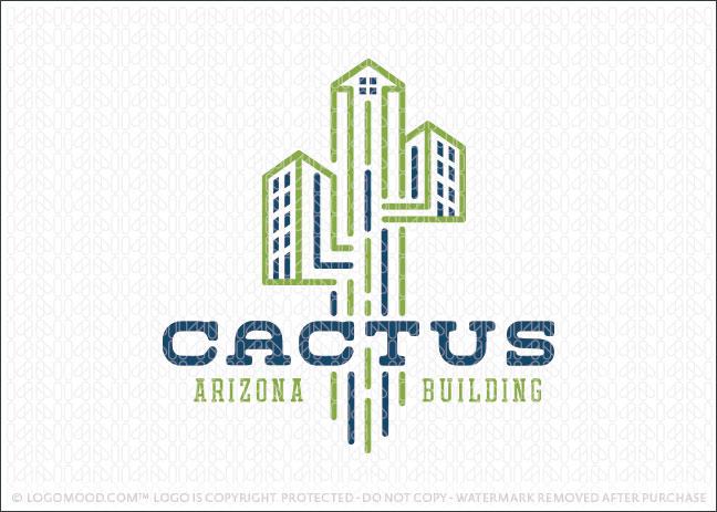 Cactus Arizona Construction Building Logo For Sale