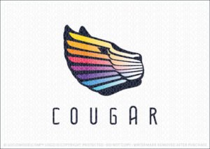 Colourful Rainbow Spectrum Cougar Animal Logo For Sale
