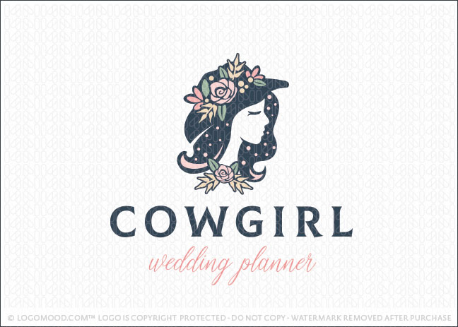 Cowgirl Woman Floral Beauty Wedding Planner Logo For Sale