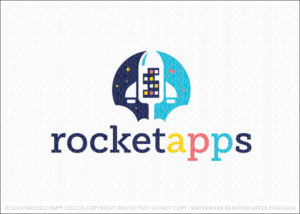 Rocket Spaceship Smart Phone Apps Logo