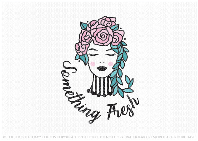 Floral Rose Beauty Woman Shabby Chic Fashion Boutique Logo For Sale