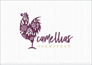 Floral Pattern Rooster Farm Logo For Sale
