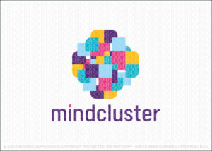 Mind Cluster Abstract Brain Cube Logo For Sale