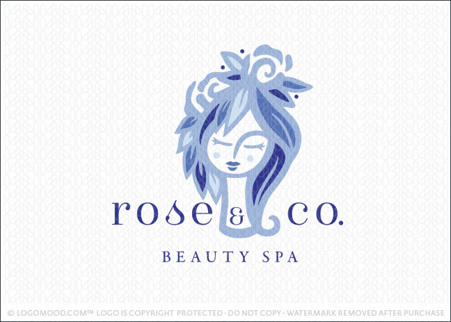 Rose and Leaf Beauty Spa Logo For Sale
