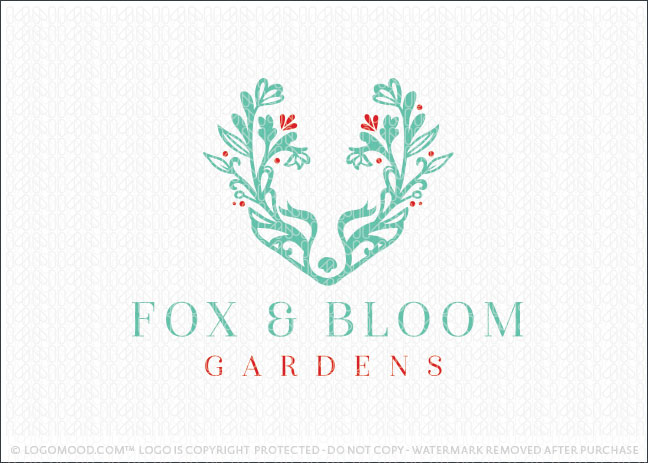 Fox And Bloom Natural Garden Logo For Sale