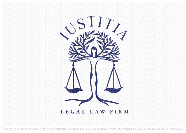 Lady Justice Scale Tree law Firm Logo For Sale