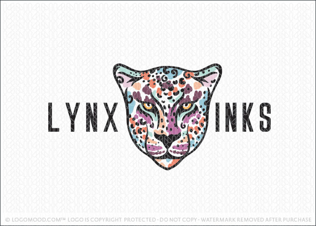 Bold Artistic Cheetah Animal Face Logo For Sale