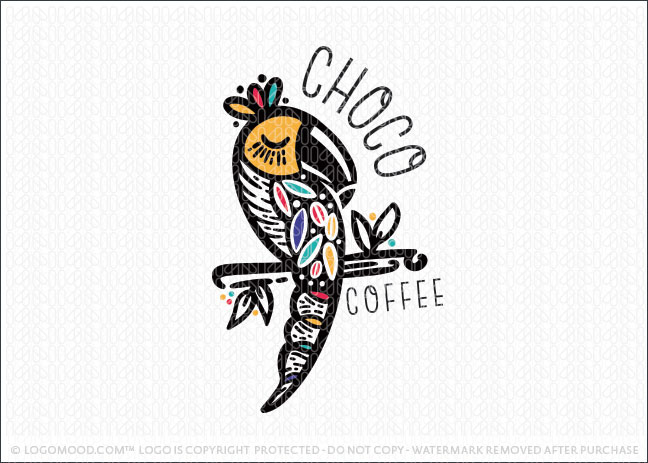 Chocolate Coffe Choco Bean Tucan Bird Logo For Sale
