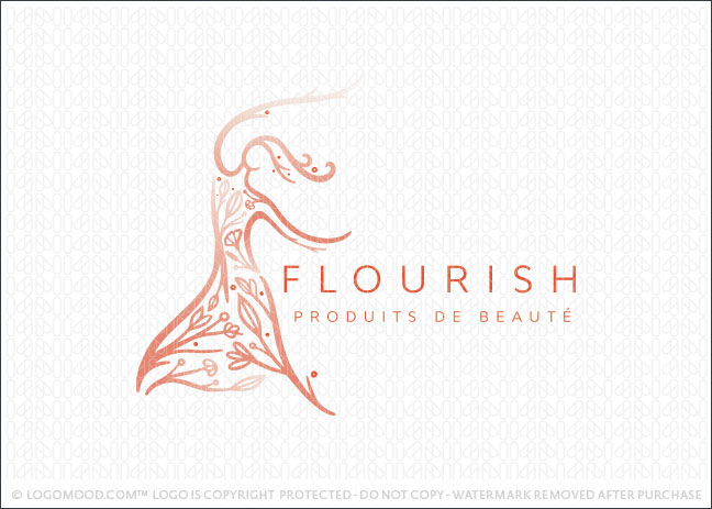 Flourish Natural Beauty Tree & Branches Beauty Spa Logo For Sale
