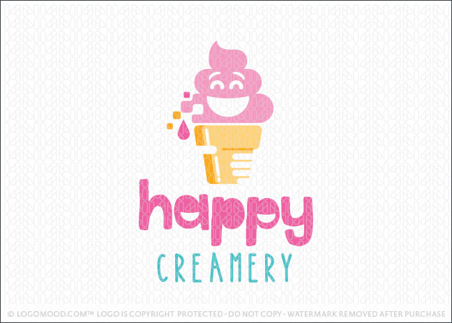 Happy Joyful Ice Cream Cone Creamery Logo For Sale