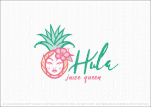 Hula Tropical Pineapple Fruit Beauty Juice Queen Logo For Sale