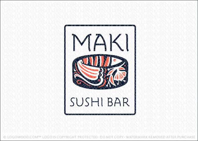 Maki Salmon Fish Sushi Restaurant Logo For Sale