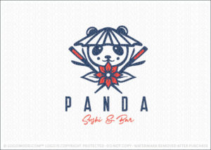 Panda Sushi Bar Restaurant Logo For Sale