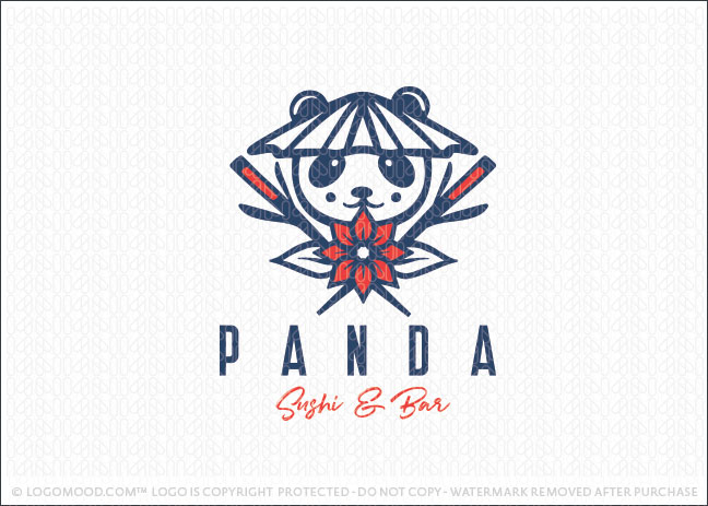 Panda Sushi Bar Restaurant Logo For Sale
