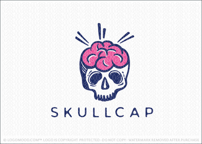 Skullcap Brain Skeleton Smart Logo For Sale
