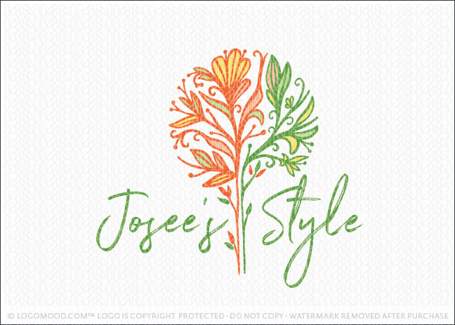 Vibrant Whimsical Floral Flower florist Botanical Logo For Sale