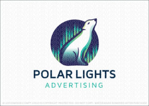 Polar Lights Aurora Borealis Polar Bear Logo For Sale