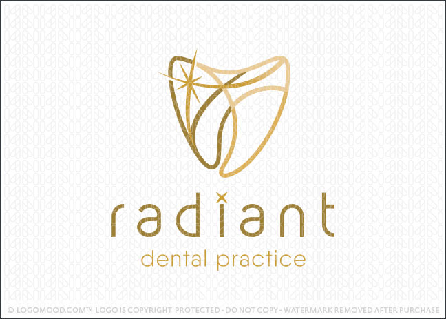 Radiant Dental Practice Dentistry Molar Tooth Logo For Sale