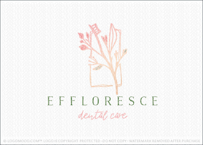 Natural Floral Branch Dental Toothbrush Dentistry Logo For Sale
