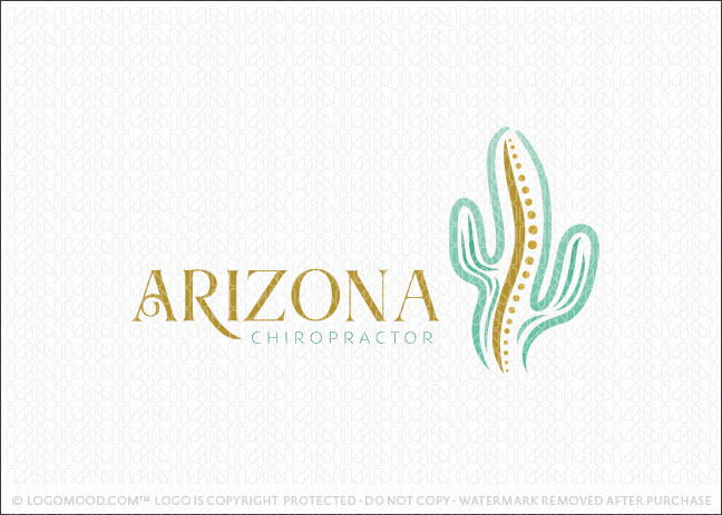 Arizona Cactus Chiropractor Spine Logo For Sale