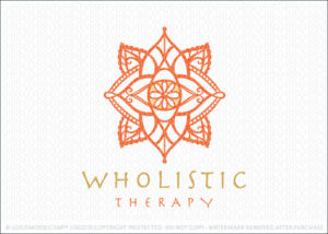 Wholistic Therapy Mandala Lotus Eye Logo For Sale