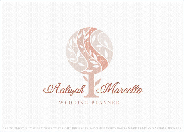 Stylized Natural Blush Pink Tree Logo For Sale