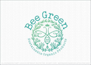Organic Honey Bee Green Ready Made Bee Logo For Sale