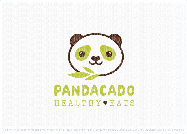 Cute Panda Animal Character Healthy Avocado Logo