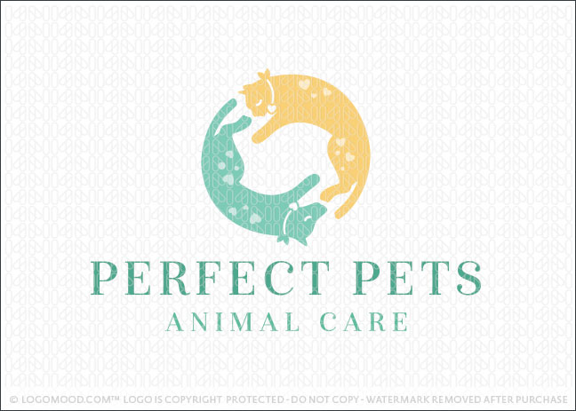 Dog and Cat Pet Animal Care Logo For Sale