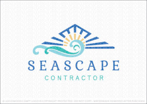 Seascape Ocean Waves Beach House Contractor Logo For Sale