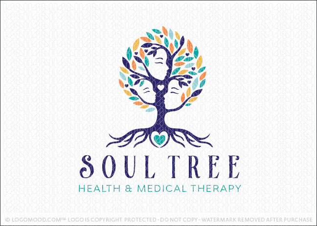 Holistic People Soul Tree Logo For Sale