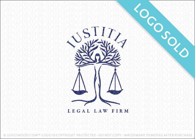 Lady Justice Tree Scales Logo Sold