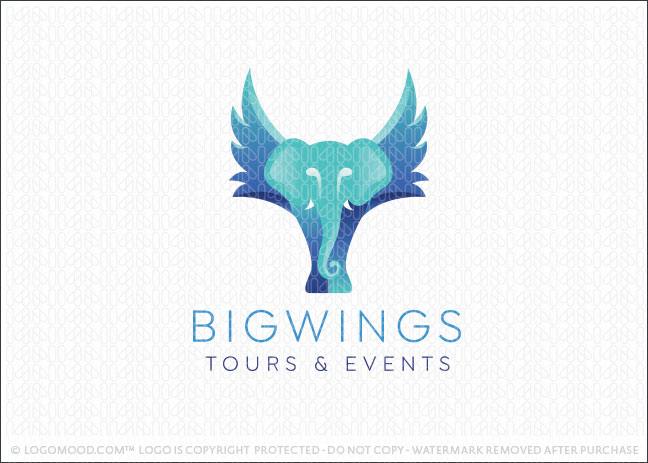 Big Wings Elephant Logo For Sale