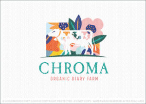 Bright Colourful abstract floral dairy farm logo for sale