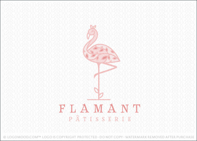 Pink Floral Leaf Flamingo Bird Logo For Sale