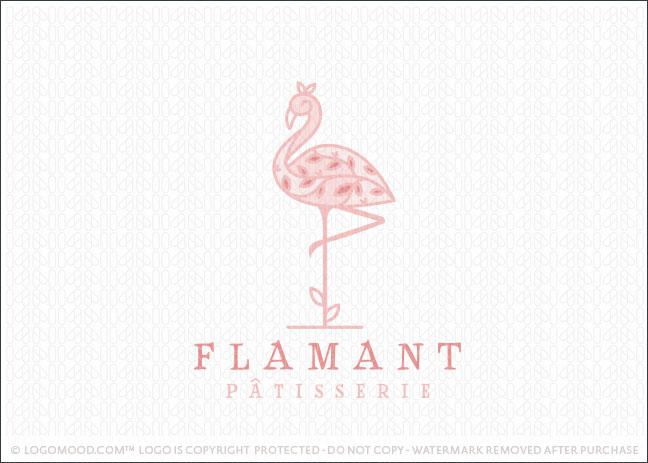 Pink Floral Leaf Flamingo Bird Logo For Sale
