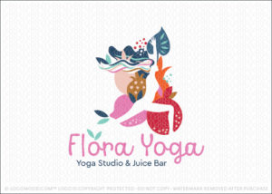 Yoga Studio Fitness Wellness & Juice Bar Logo For Sale
