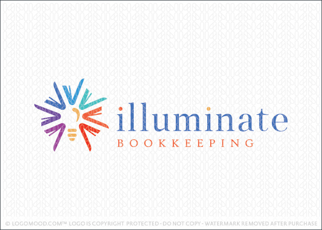 Illuminate Bookkeeping Lightbulb Books Logo For Sale