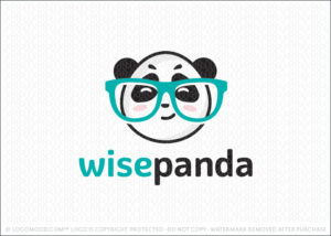 Smart wise cute panda nerd character logo for sale