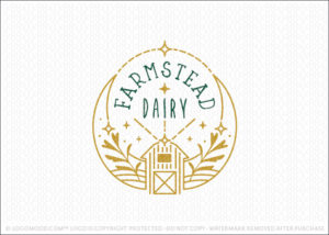Farmstead Dairy Farm Logo For Sale